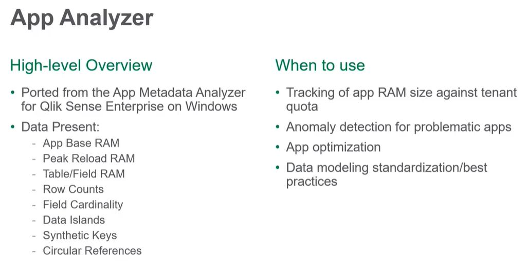 Qlik app analyzer Saas Cloudf